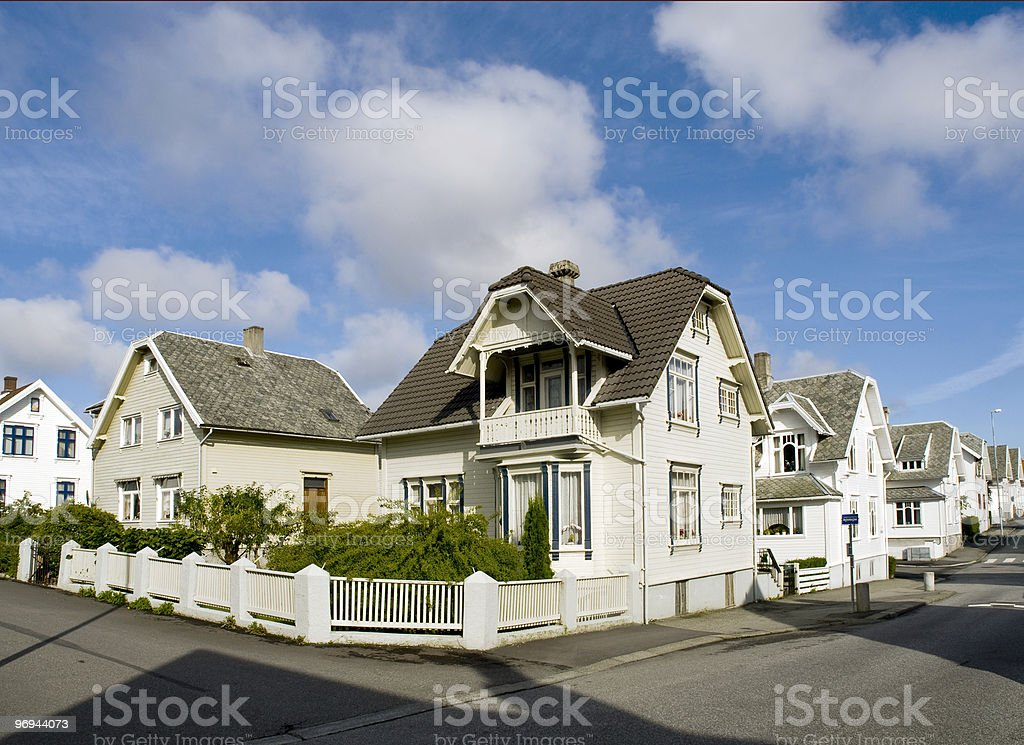 Stavanger Wood Houses royalty-free stock photo