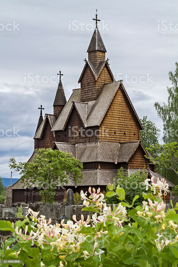 Stave Church Heddal stock photo