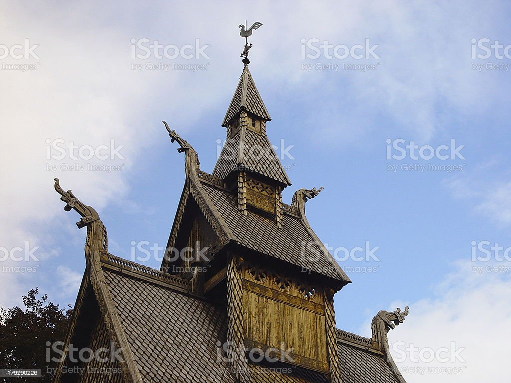Stave Church Hopperstad, Detail royalty-free stock photo