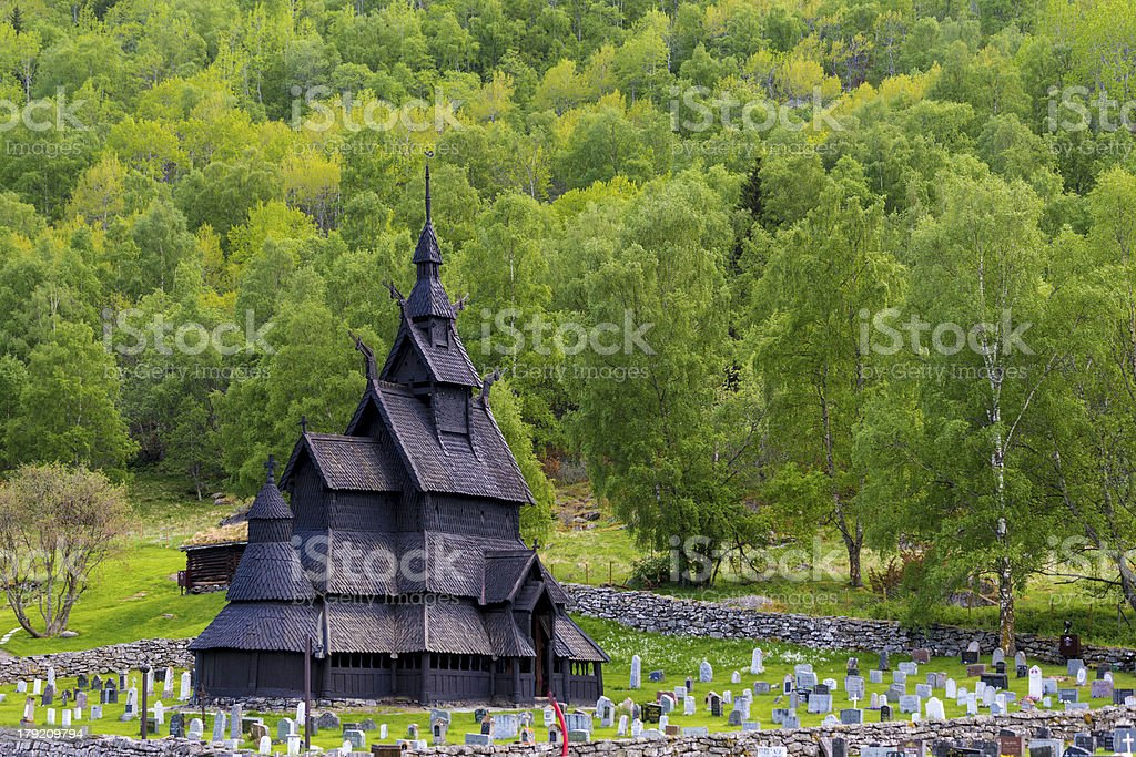 Stave Church of Borgund stock photo