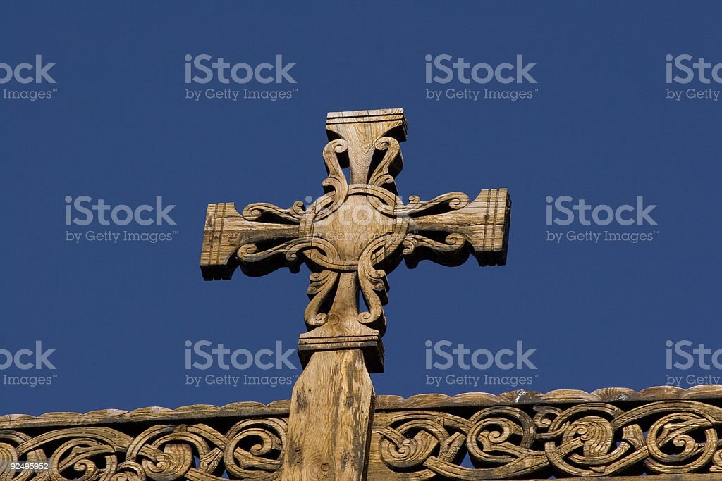 Stave Church of Lom (Norway), detail1 royalty-free stock photo