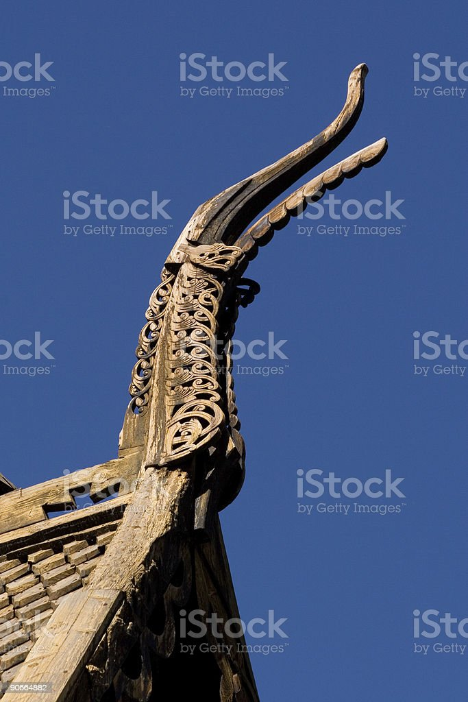Stave Church of Lom (Norway), detail3 royalty-free stock photo
