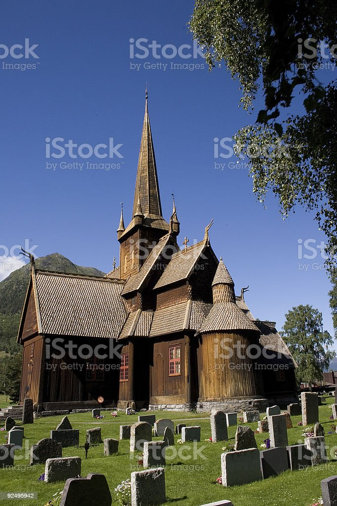 Stave Church of Lom (Norway). royalty-free stock photo