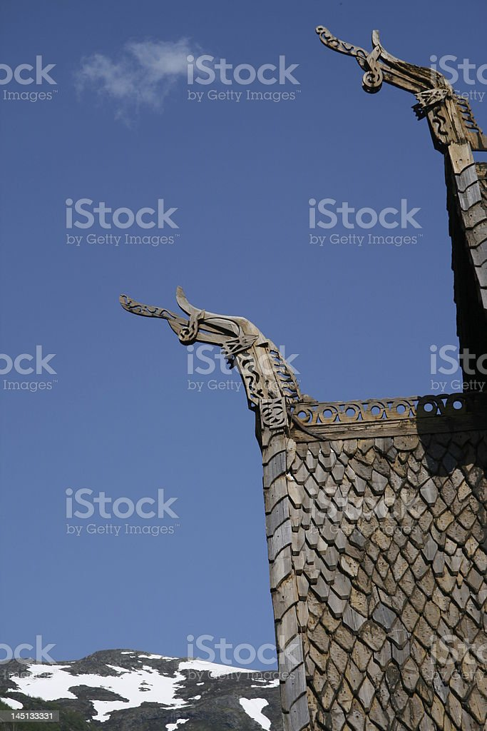 Stave church roof royalty-free stock photo