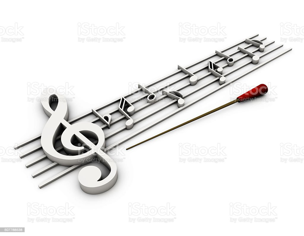 Stave of music in the 3D stock photo