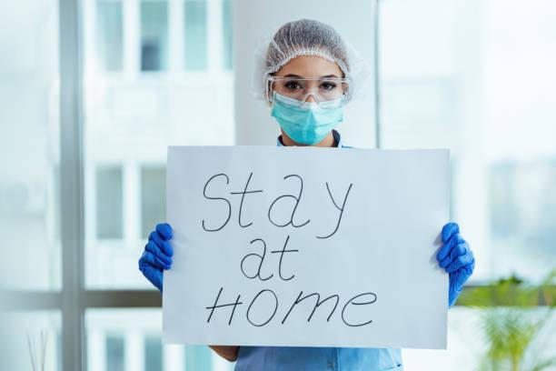 stay at home! - prevenzione delle malattie foto e immagini stock