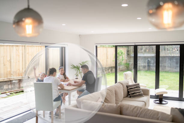 Stay at home stay in your bubble. stock photo