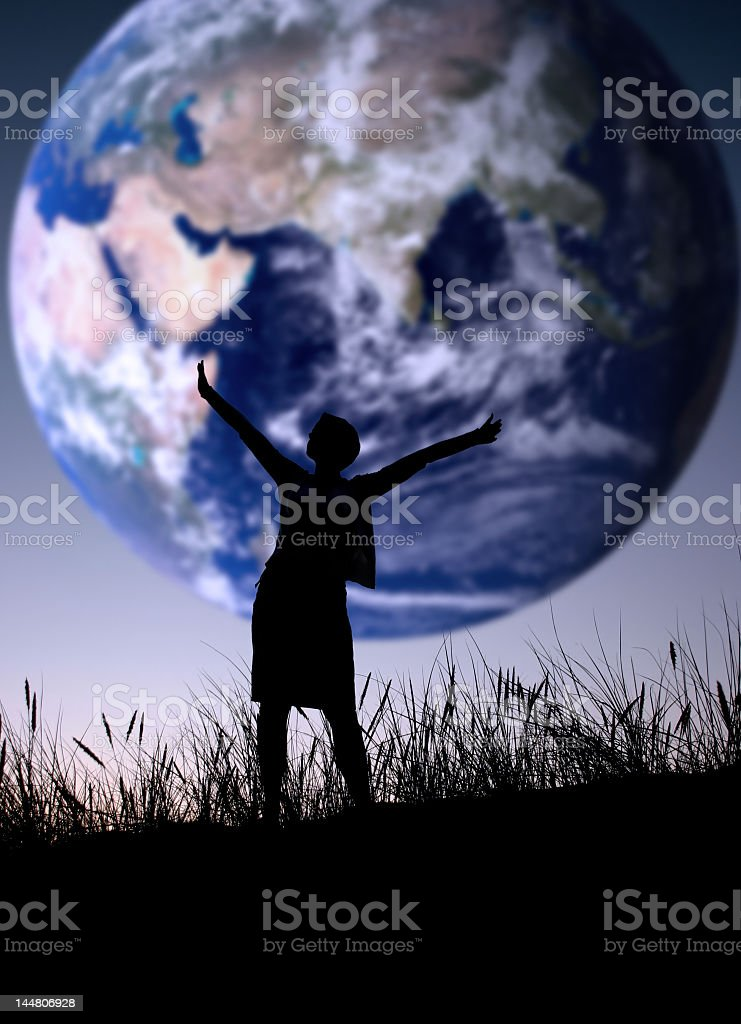 Stay cheerful open hands and shout the world is mine  stock photo