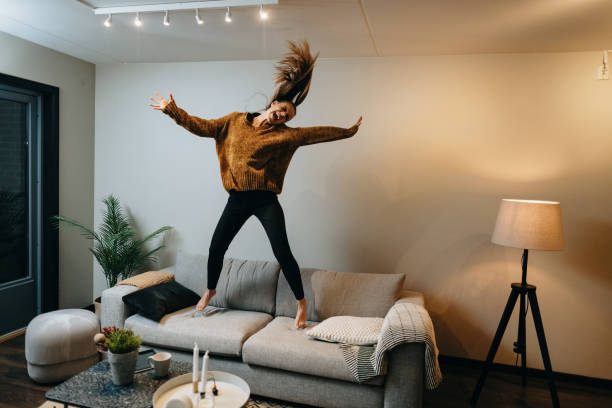 Stay home during pandemic - dancing and physical activity stock photo