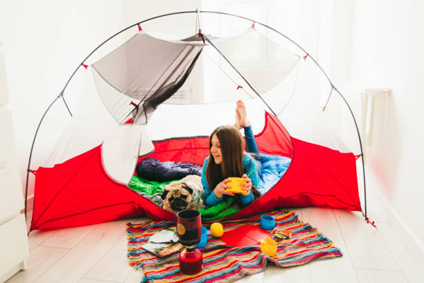 Stay home - have a great camping outdoors! stock photo
