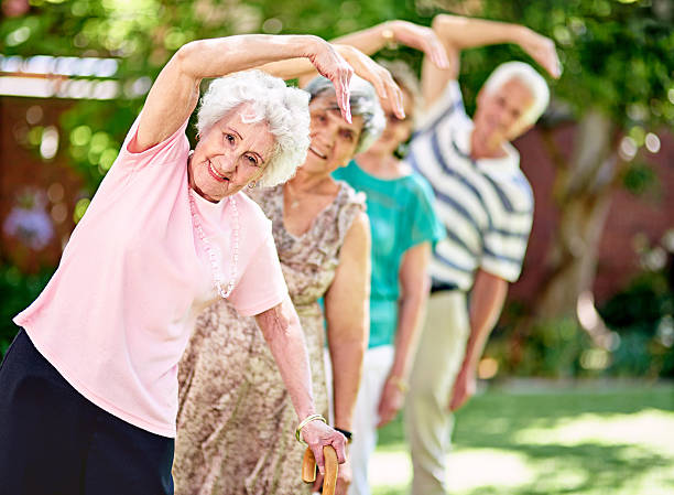 Staying active is key to a healthy retirement! stock photo