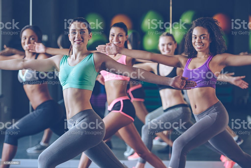 Staying fit and cheerful. stock photo
