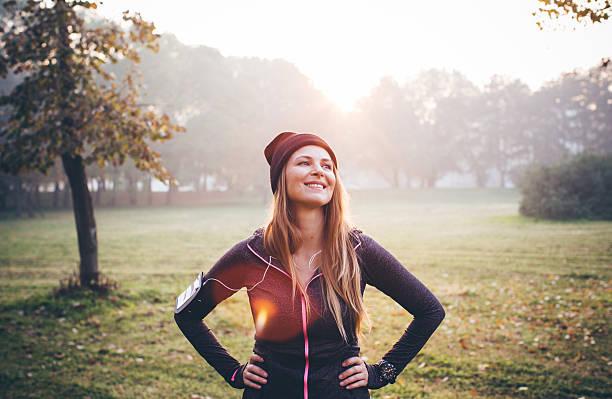 restare in forma e in salute. - woman portrait forest foto e immagini stock