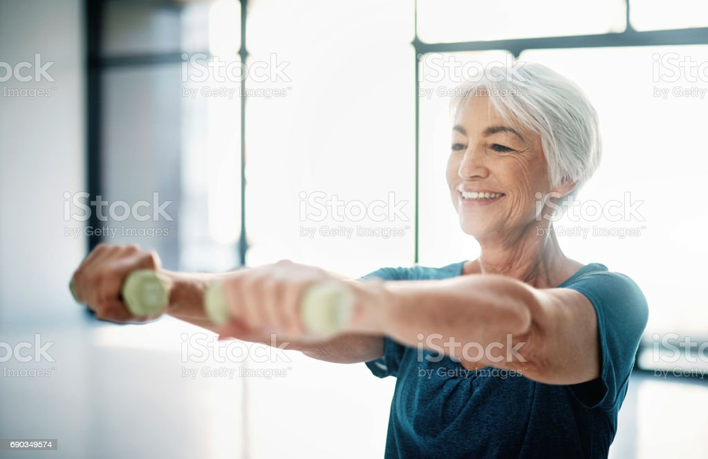 Staying fit is one way to age with grace stock photo
