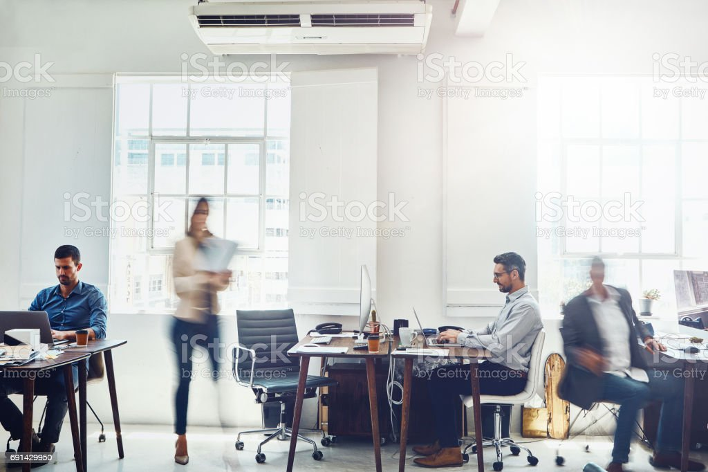 Staying focused in a fast paced business stock photo