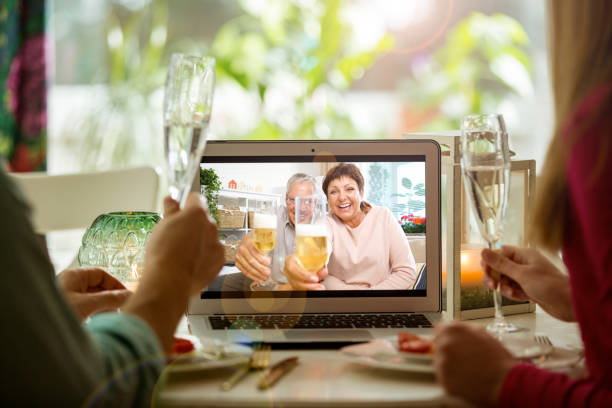 Staying home, quarantine and social distancing celebration of event. stock photo