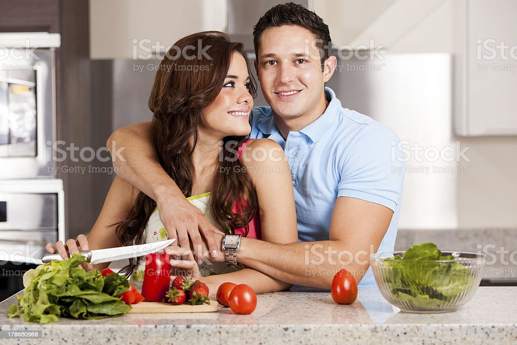 Staying in and cooking dinner royalty-free stock photo