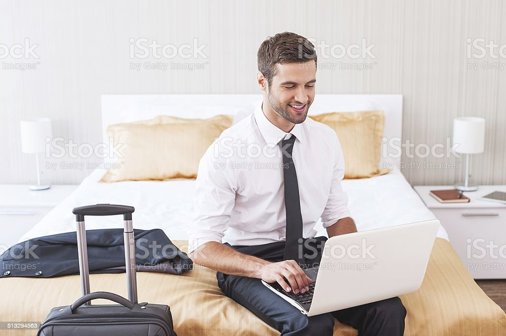 Staying in touch with office. stock photo
