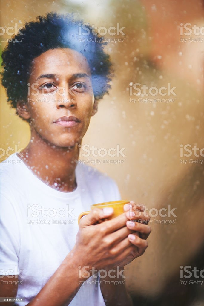 Staying warm on a wet, winter's day stock photo