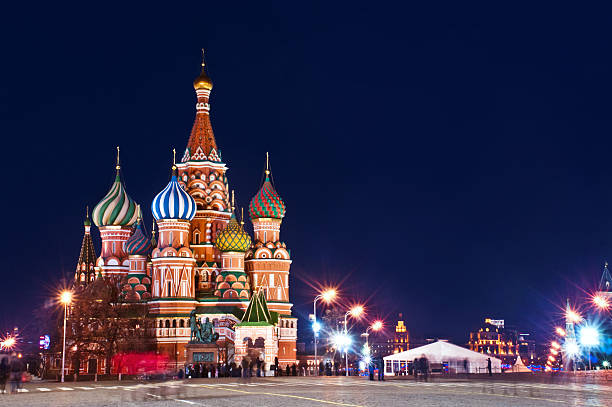 St.Basil Cathédrale de Moscou, vue de nuit - Photo