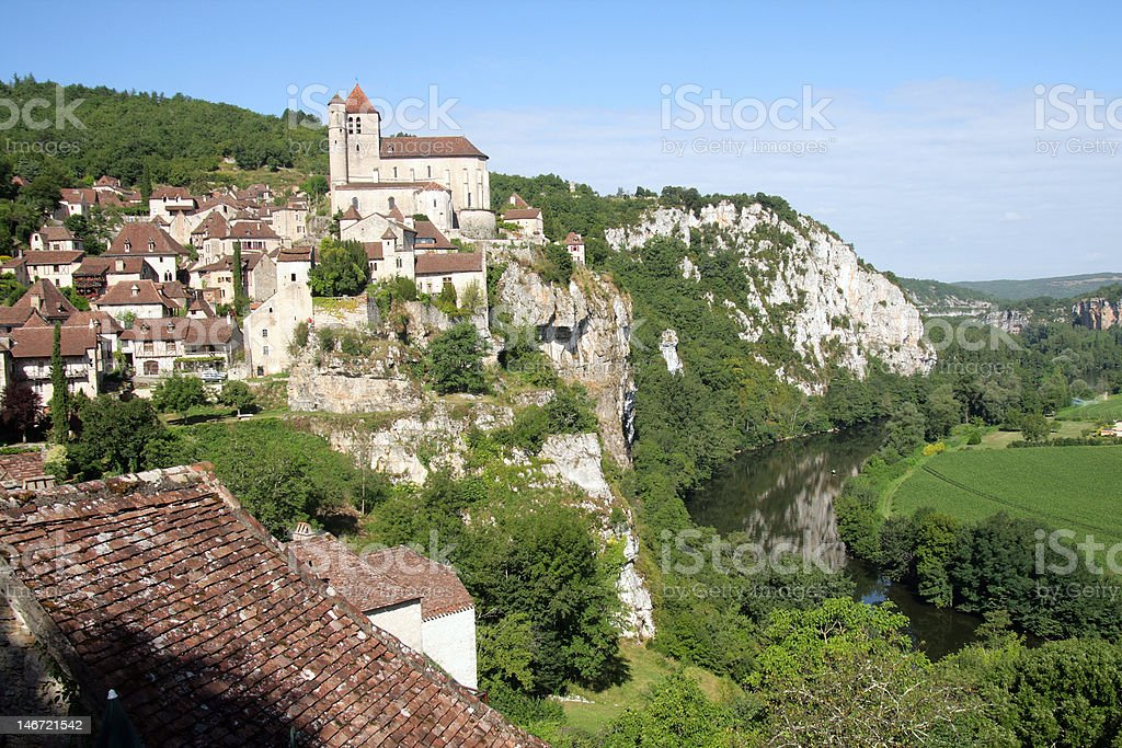 St-cirq Lapopie and Lot river stock photo
