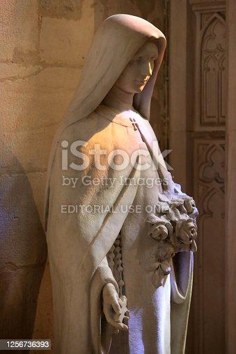 Europe. France. Auvergne-Rhône-Alpes. Rhône. Lyon. 08/02/2012. This colorful image depicts Ste Teresa of the Child Jesus. Sainte Thérèse de Lisieux, said little Thérèse. Cathedral of St. John the Baptist and St. Stephen.