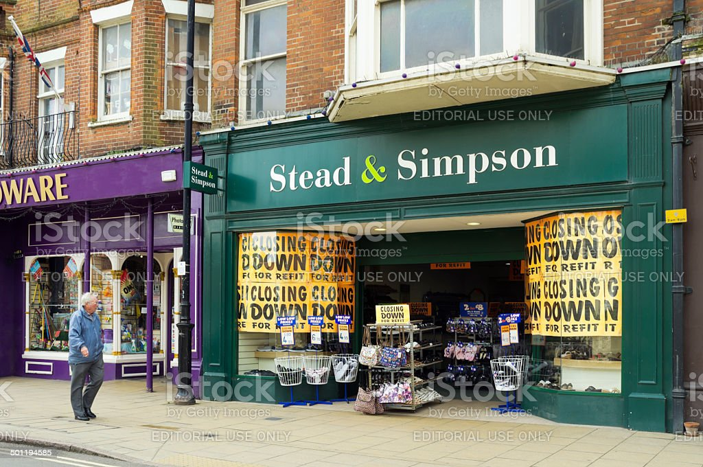 Stead & Simpson shoe shop closing for refit stock photo