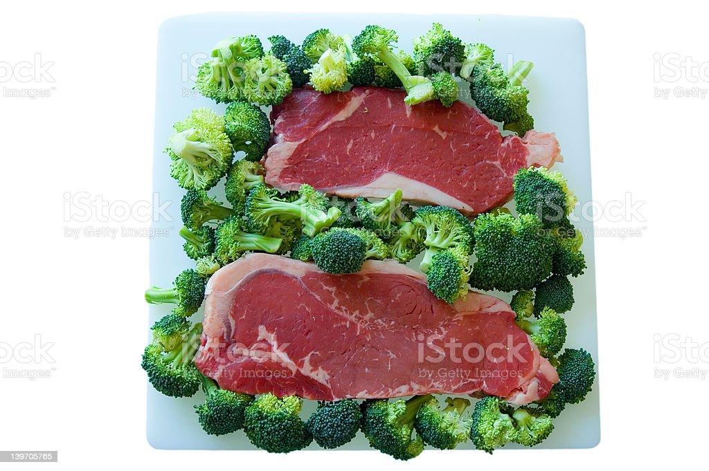 Steak and Broccoli royalty-free stock photo