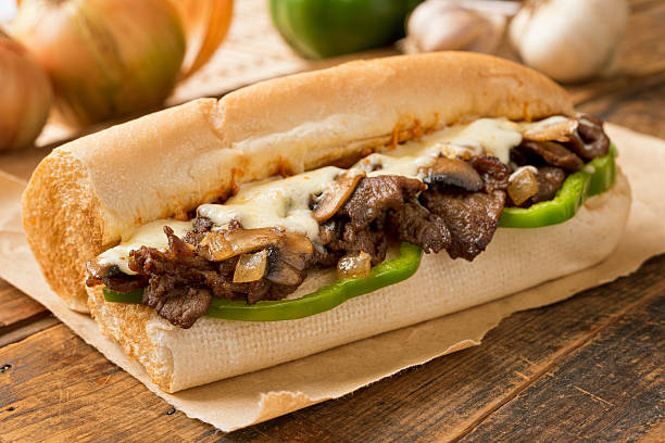 steak and cheese sub - cheese sandwich bildbanksfoton och bilder