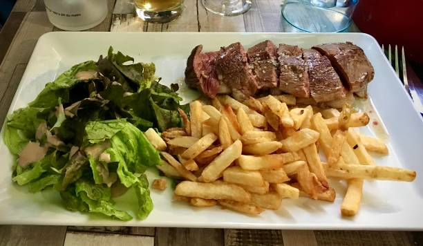 Steak and Chips. stock photo