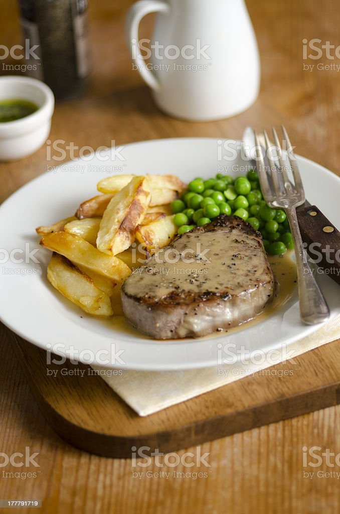 Steak and chips stock photo