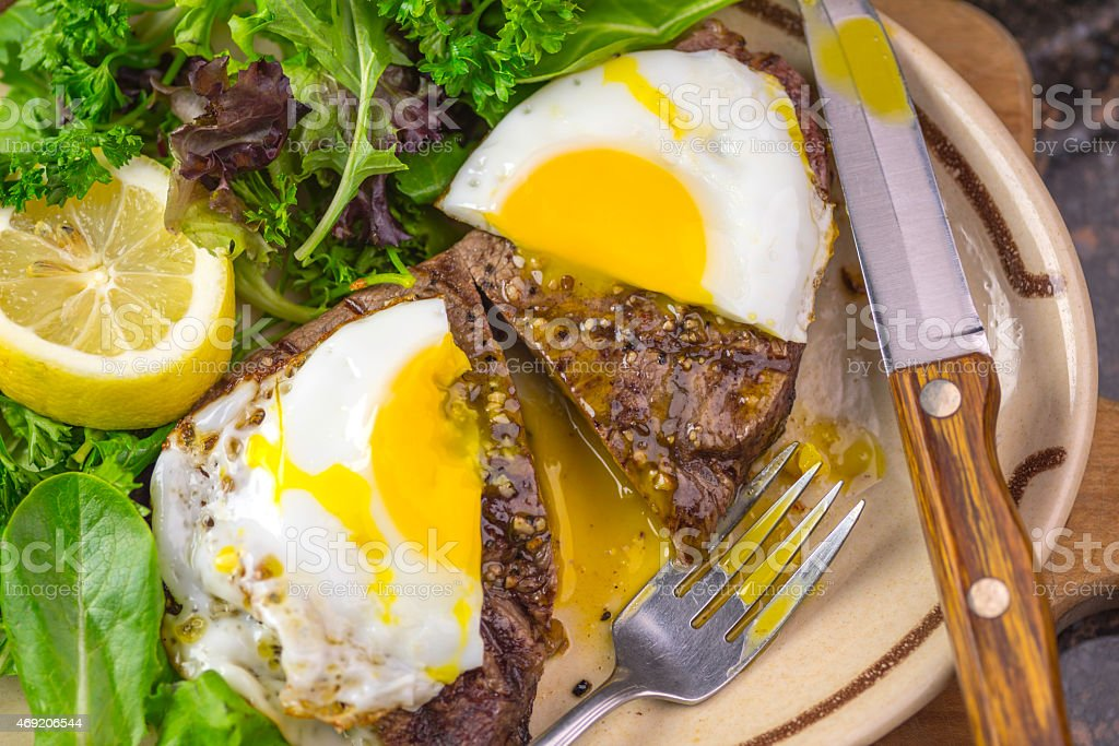 Steak and Egg stock photo