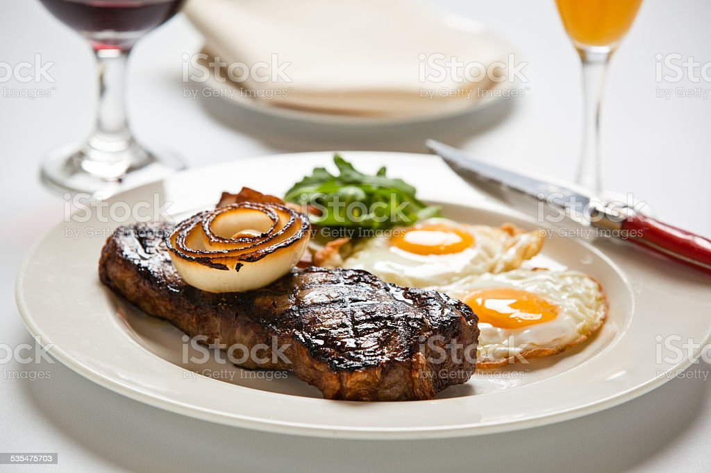 Steak and Eggs stock photo