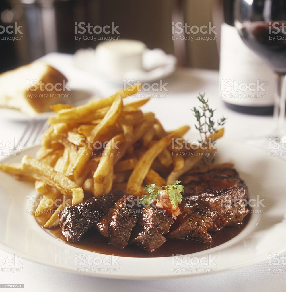 Steak and fries stock photo
