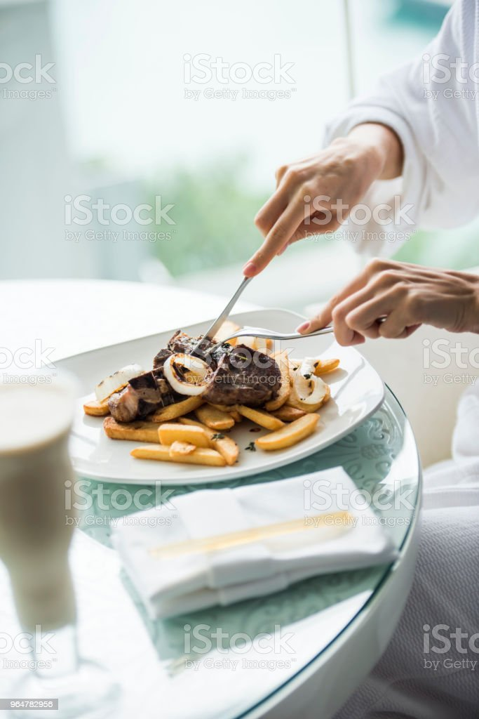 Steak and fries royalty-free stock photo