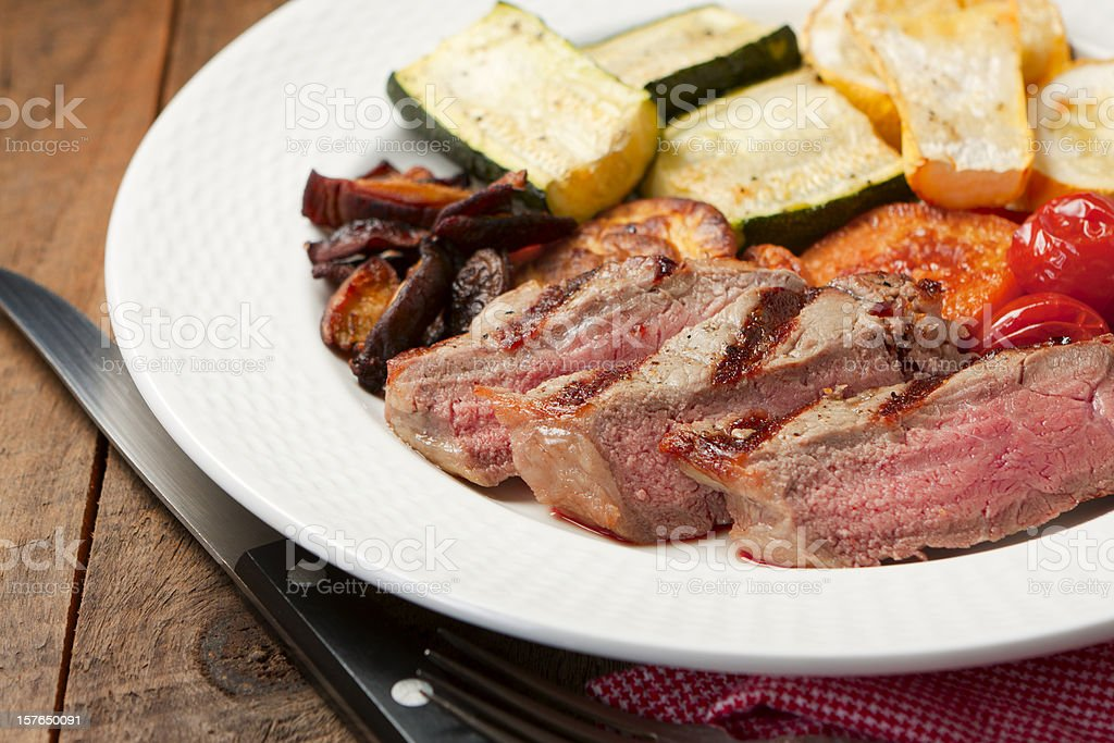 Steak and Grilled Vegetables stock photo
