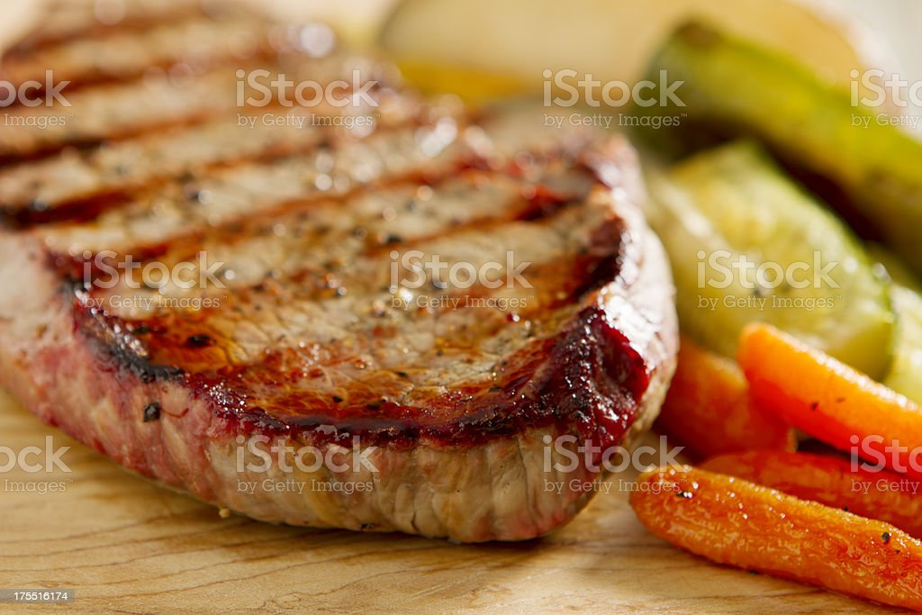 Steak and Grilled Vegetables royalty-free stock photo