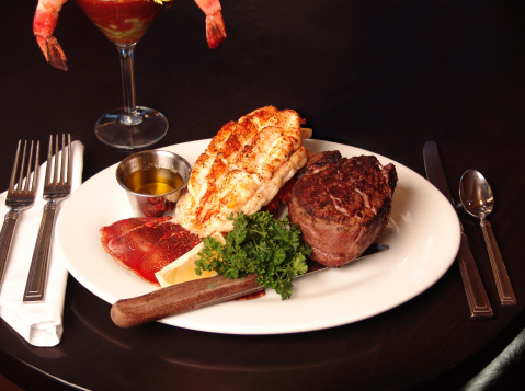Steak And Lobster Dinner Stock Photo - Download Image Now ...