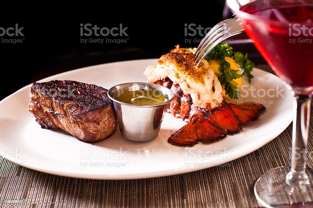 Steak and Lobster royalty-free stock photo