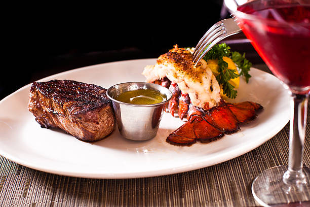 steak and lobster - tail stock photos and pictures