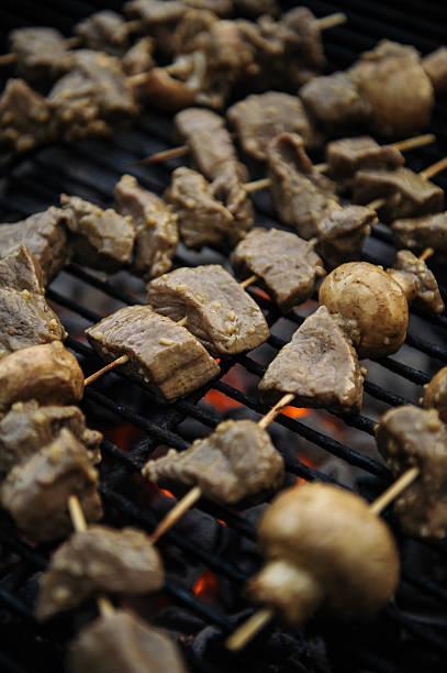 Steak and Mushroom Kebabs stock photo