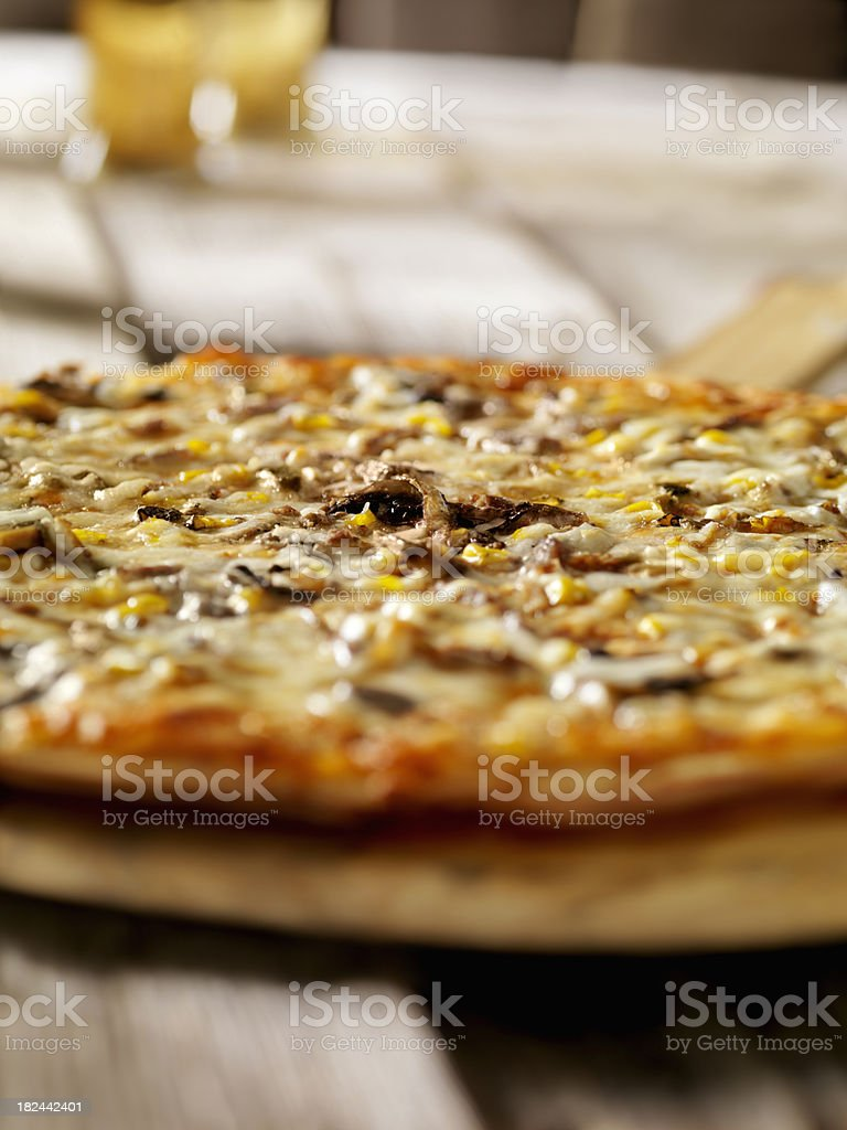 Steak and Mushroom Pizza royalty-free stock photo