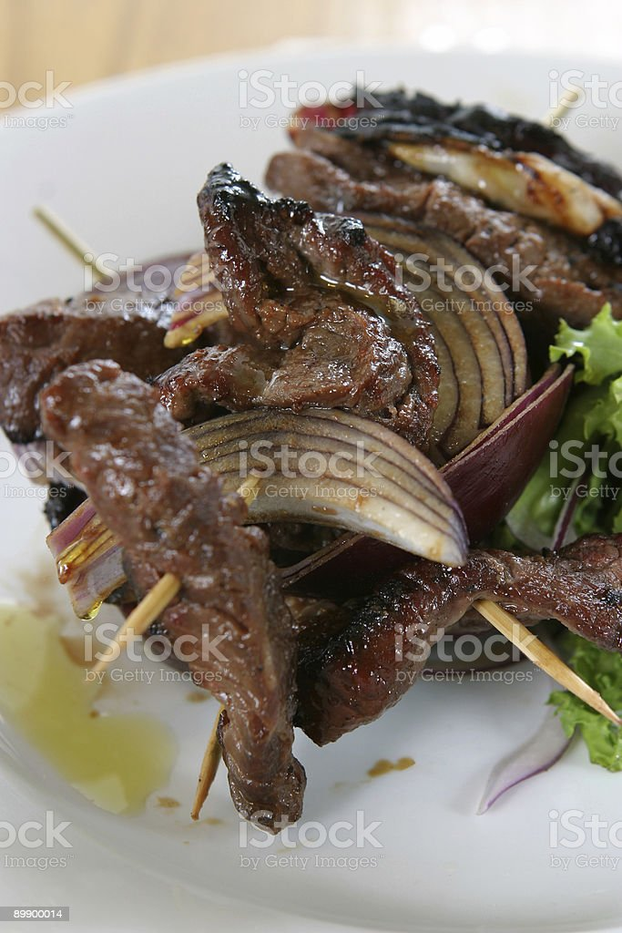 Steak and onion skewers royalty-free stock photo