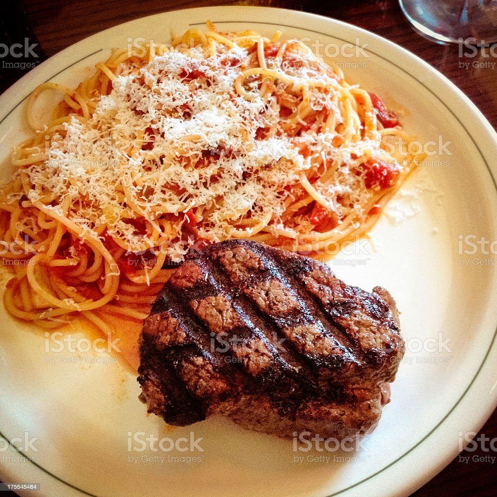 steak and pasta royalty-free stock photo
