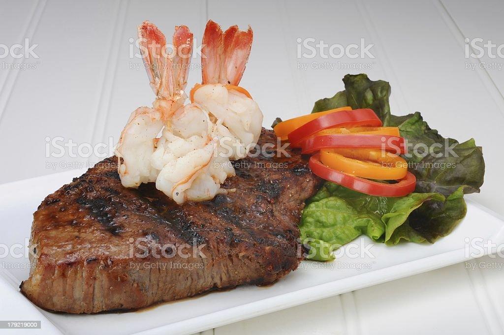 Steak and Shrimp. royalty-free stock photo