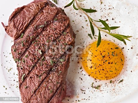 istock Steak and sunny side up egg with seasoning 185245563