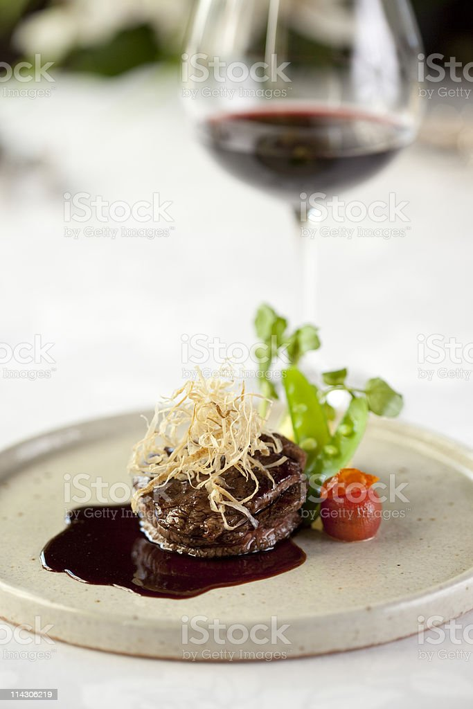 Steak & Baked Potato with Red Wine royalty-free stock photo