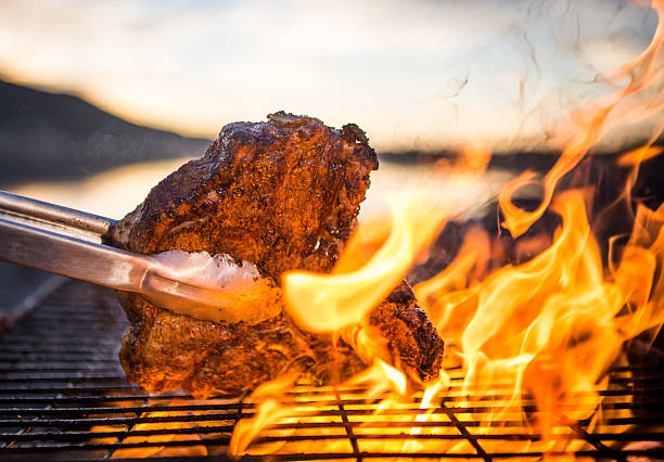 steak bbq - grilled stock photos and pictures