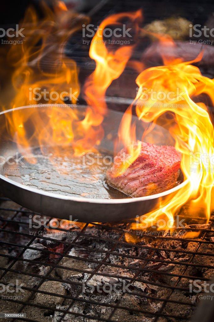Steak Brandy Flambe stock photo