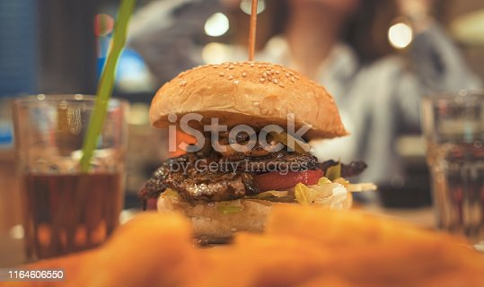 Steak burger, Hamburger with French fries chips